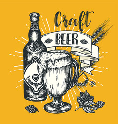 vintage craft beer poster engraving vector image
