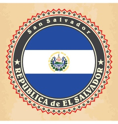 Vintage label cards of El Salvador flag vector