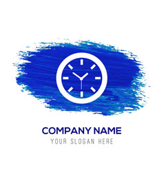 wall clock icon - blue watercolor background vector image