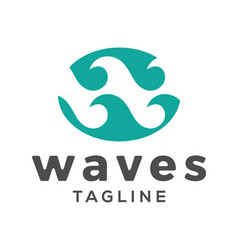 waves initial w letter logo design vector image