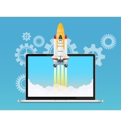 Web start up and development concept Space rocket vector image