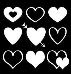 white heart silhouette icon set different shape vector image