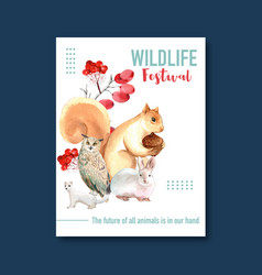 Winter animal poster design with squirrel owl vector