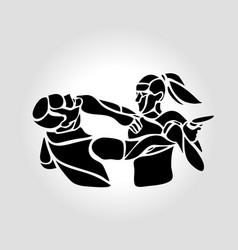 Woman self defense practice krav maga sparring vector