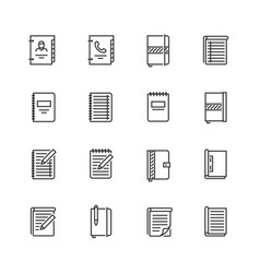 writing pads icon set in thin line style vector image