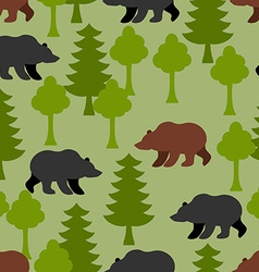Bears in woods as a seamless pattern Grizzly and vector image vector image