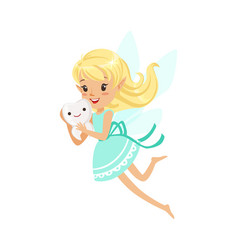 beautiful sweet smiling blonde tooth fairy girl vector image