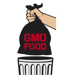 hand holding black plastic trash bag with GMO food vector image vector image