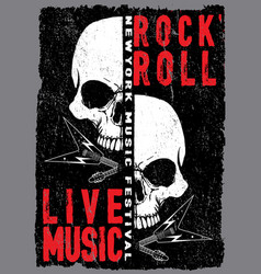 vintage rock and roll typographic for t-shirt tee vector image