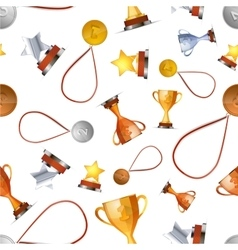 Winners awards with medals cups and stars on vector image