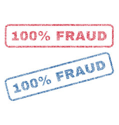 100 percent fraud textile stamps vector image vector image