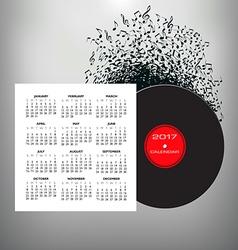 2017 Record Notes calendar vector image vector image
