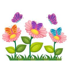 butterflies flying in flower garden vector image vector image