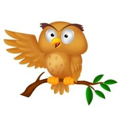 Cute owl cartoon waving vector image
