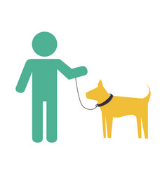 Man with cute dog mascot icon vector