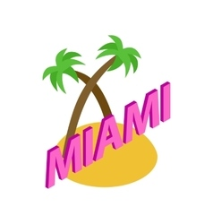 Miami icon isometric 3d style vector image vector image