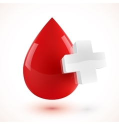 Red 3D style blood drop with white cross vector image