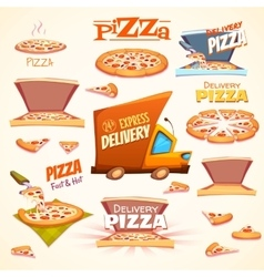 set of Pizza icons labels signs symbols vector image vector image