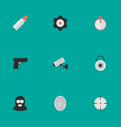 Set of simple offense icons elements target safe vector