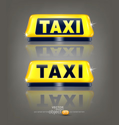 set of taxi signs with reflection isolated on vector image