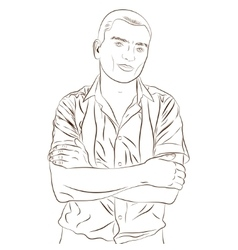 Contour of elegant young man weared in a shirt vector image