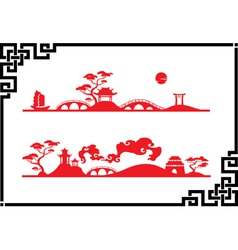 Two abstract asian landscapes vector image
