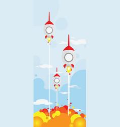 3 rocket shooting vector image