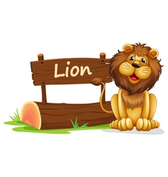 A lion near a wooden signage vector image