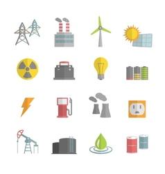 Energy Power Flat Icons Set vector image