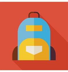 Flat School Bag with long Shadow vector image vector image