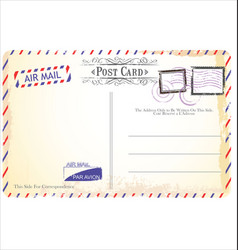 postcard in air mail style vector image vector image