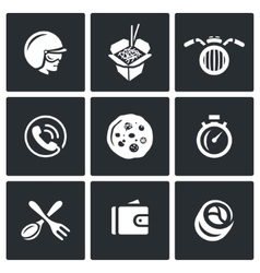 Set of Delivery Icons Courier Food vector image