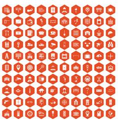 100 keys icons hexagon orange vector