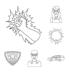 A fantastic superhero outline icons in set vector