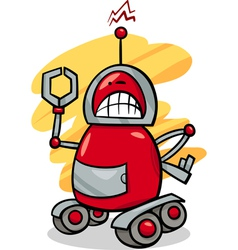 Angry robot cartoon vector