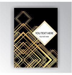 art deco template golden-black a4 page menu vector image