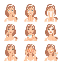 attractive young woman caring for her face vector image