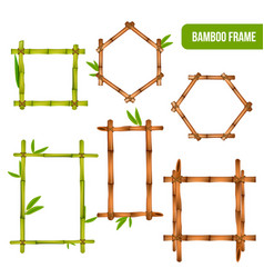 Bamboo frames realistic set vector