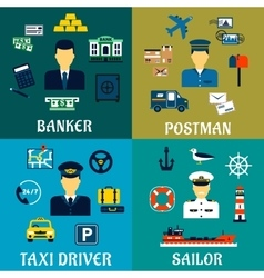 Banker taxi driver postman and sailor icons vector image