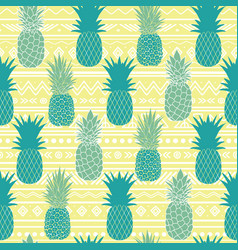 Blue yellow tribal pineapples vector