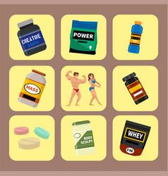 bodybuilders gym athlete and sport food diet vector image
