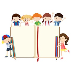 Book design with boys and girls vector image