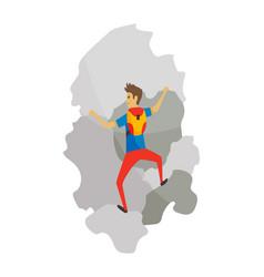 Boy with bag climbing on a rock mountain vector