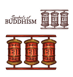 Buddhism religion symbol of buddhist prayer wheel vector