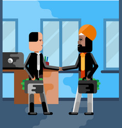 business meeting indian and european businessmen vector image