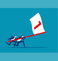 business team holding flag number one and running vector image