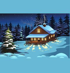 Cabin in woods during winter season vector