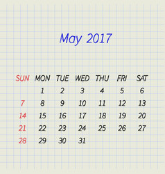 Calendar for may 2017 vector