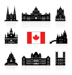 Canada icon travel landmarks vector