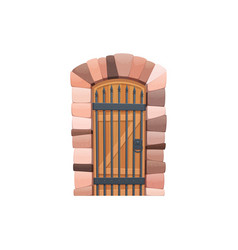 cartoon gate with forged elements fairytale entry vector image